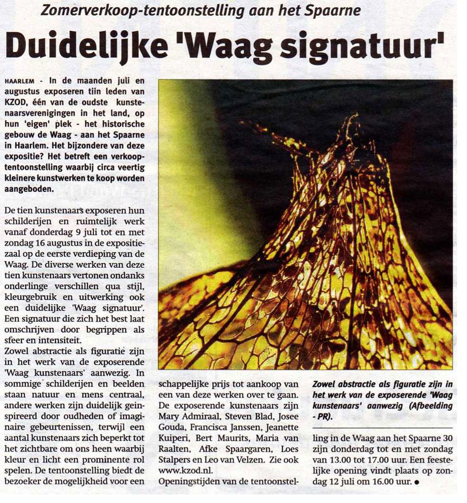 Zomerexpositie 2009 in De Waag en Raadhuis Heemstede