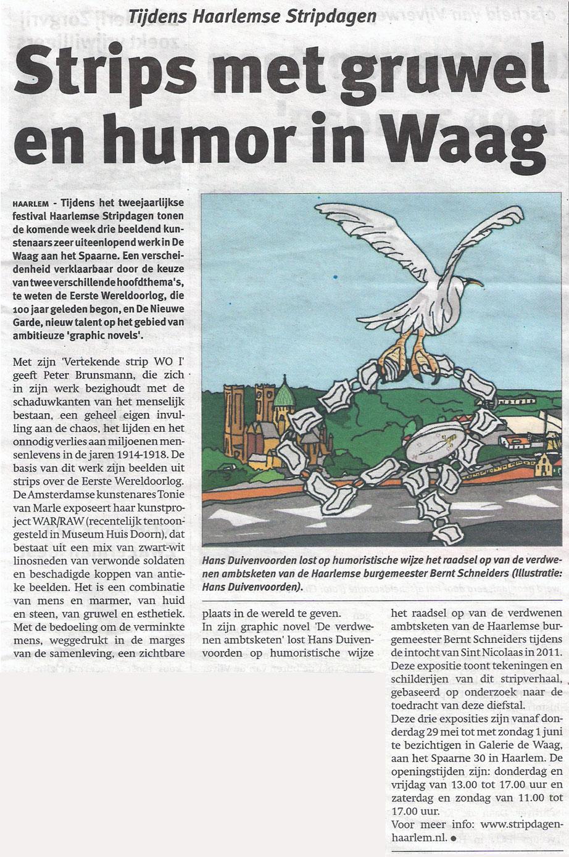 Persbericht   Strips met gruwel en humor in De Waag