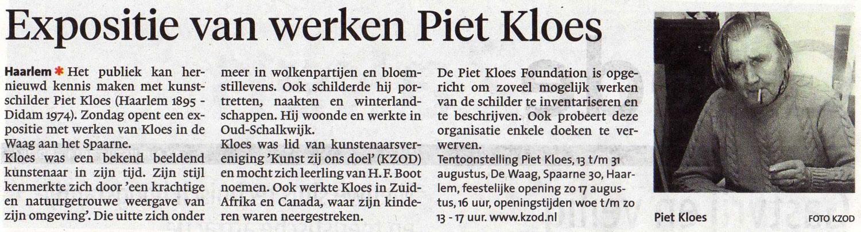Persbericht   Expositie van werken Piet Kloes