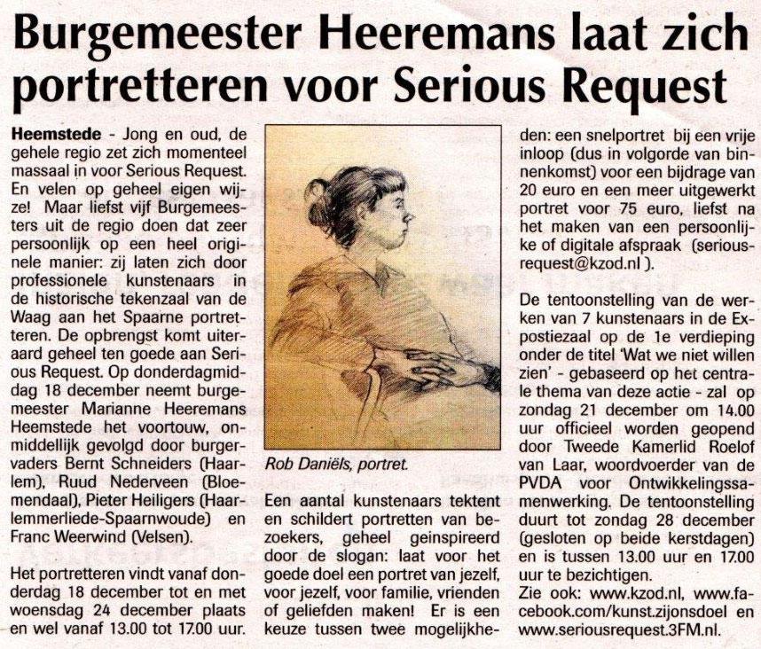 Persbericht | Burgemeester Heeremans laat zich portretteren voor Serious Request