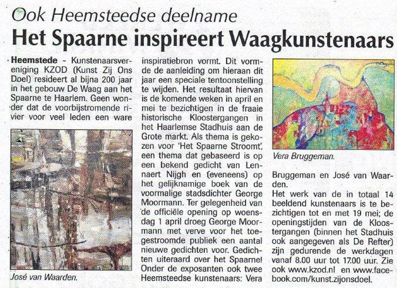 Persbericht   Het Spaarne inspireert Waagkunstenaars