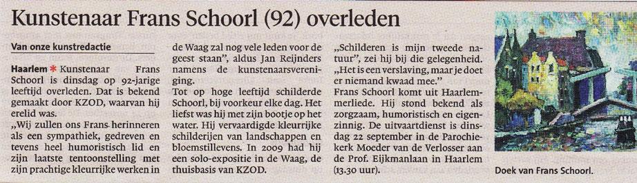 Persbericht | Kunstenaar Frans Schoorl (92) overleden