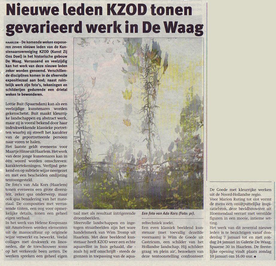 Persbericht | Nieuwe leden KZOD tonen gevarieerd werk in de Waag