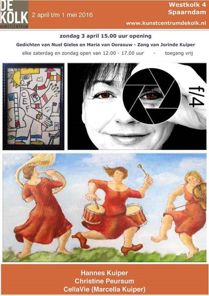 Expositie Hannes Kuiper, Christine Peursum en CellaVie (Marcella Kuiper) in de Kolk – Spaarndam