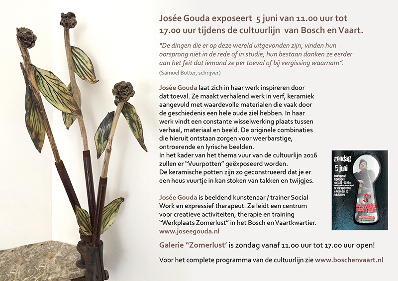 Josée Gouda exposeert tijdens de Cultuurlijn Bosch en Vaart