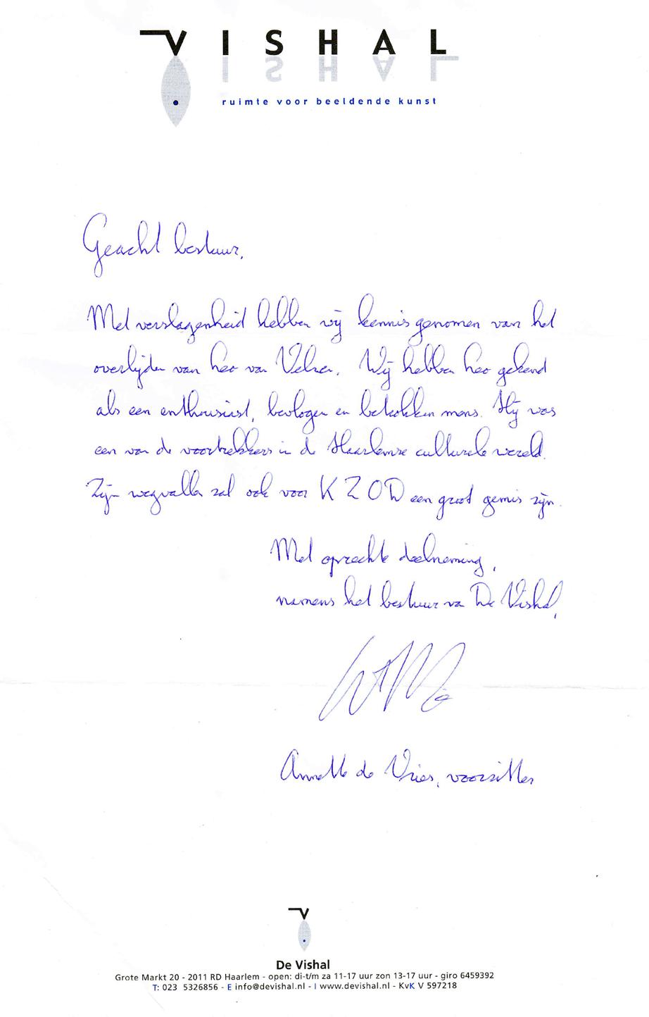Deelneming Vishal n.a.v. Overlijden Leo van Velzen