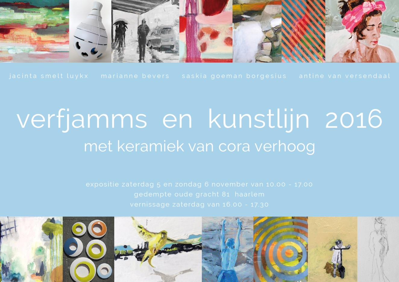 Cora Verhoog met keramiek bij Verfjamms | Kunstlijn Haarlem 2016