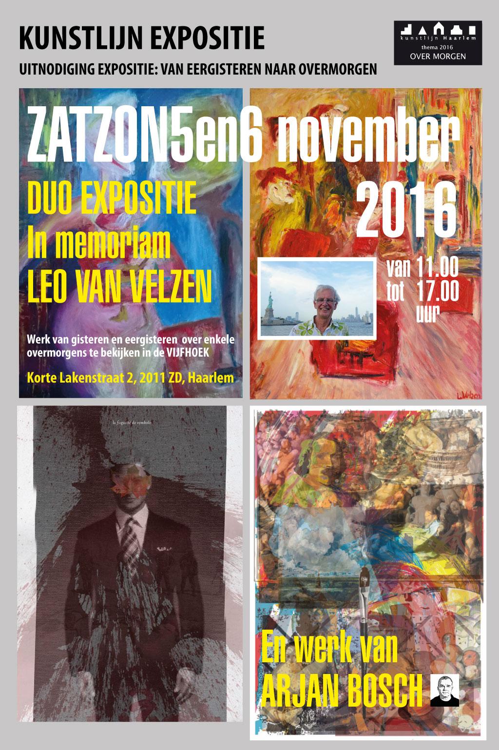 Duo expositie Leo van Velzen (In memoriam) en Arjan Bosch | Kunstlijn Haarlem 2016
