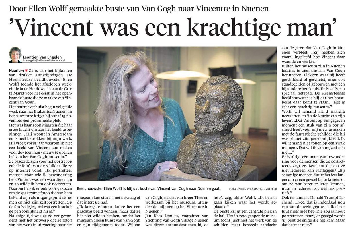 Buste van Ellen Wolff naar Vincentre in Nuenen