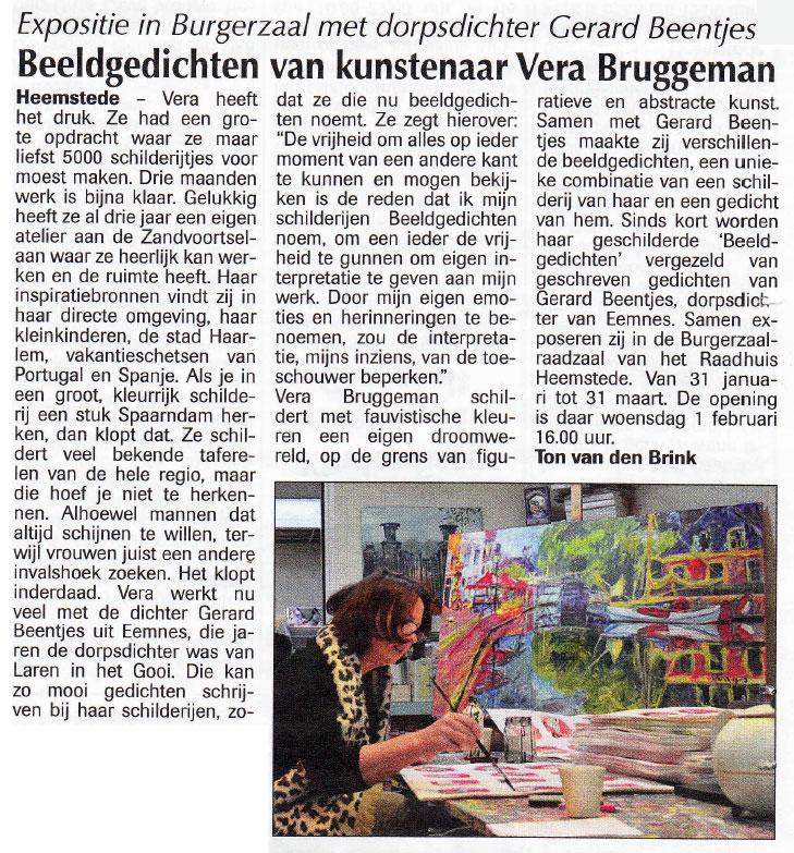 Beeldgedichten van Vera Bruggeman in Burgerzaal Heemstede
