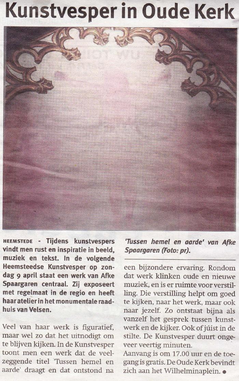 Persbericht | Afke Spaargaren bij Kunstvesper in Oude Kerk, Heemstede