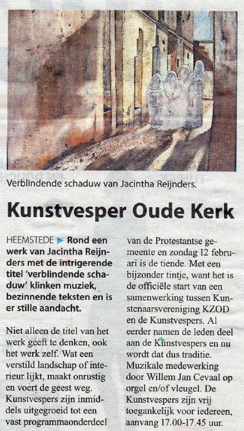 Persbericht | Jacintha Reijnders bij Kunstvesper in Oude Kerk, Heemstede