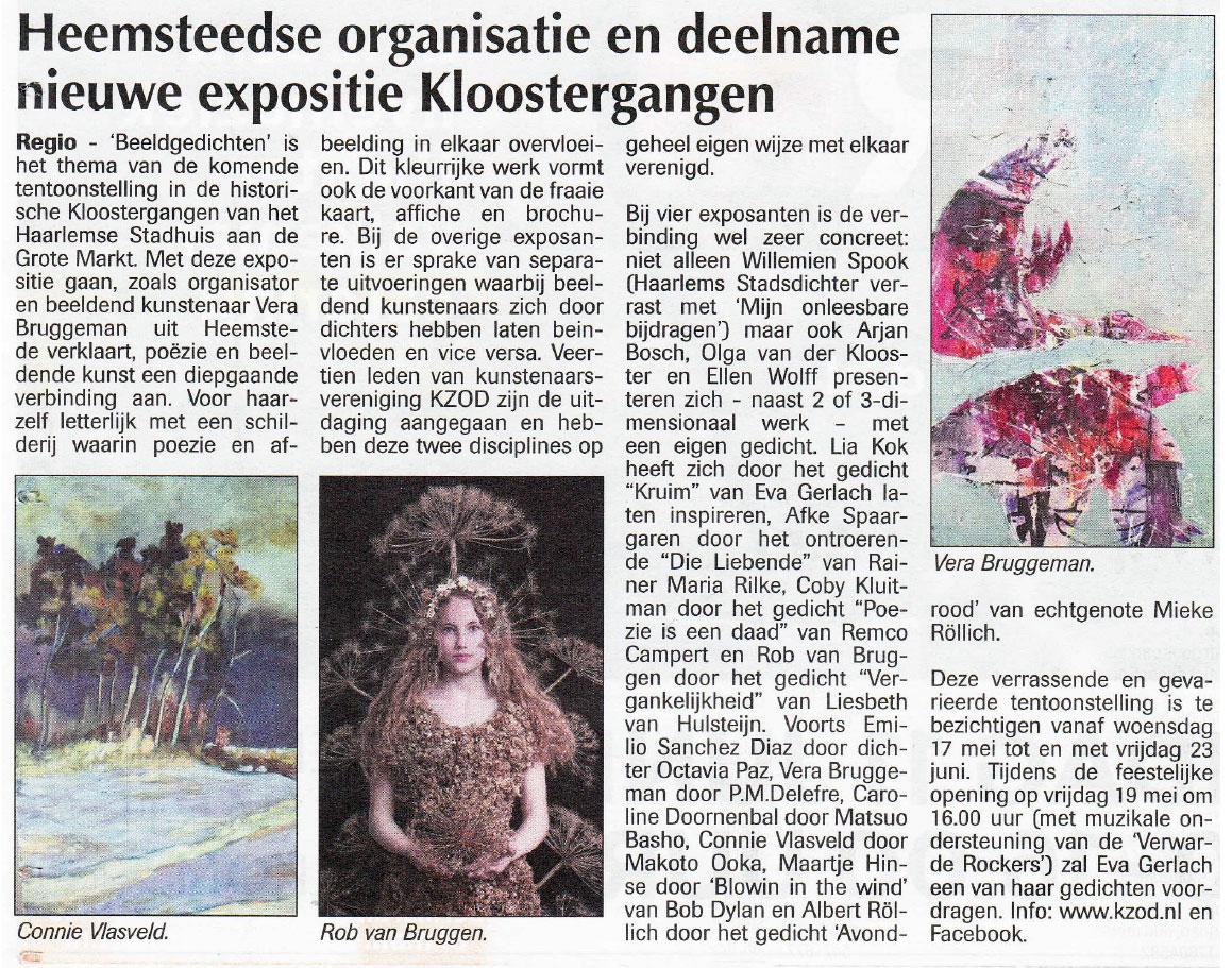 Heemsteedse organisatie en deelname nieuwe expositie Kloostergangen