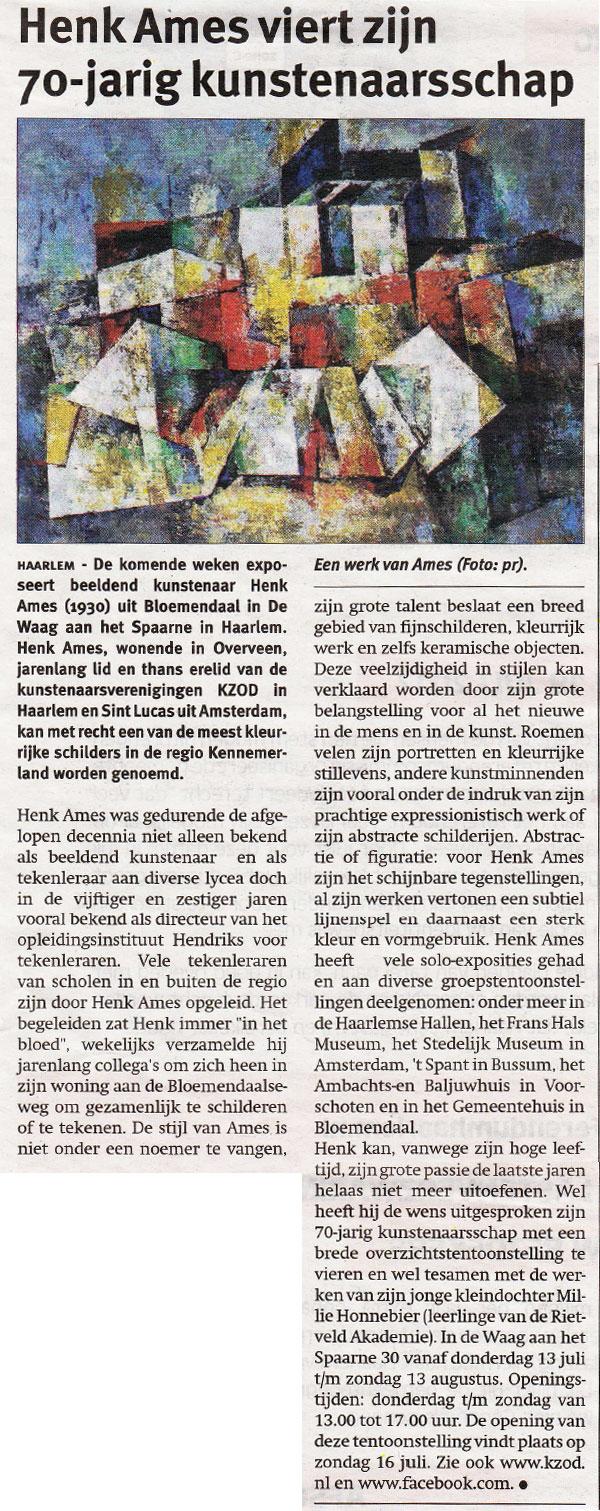Henk Ames viert zijn 70-jarig kunstenaarsschap