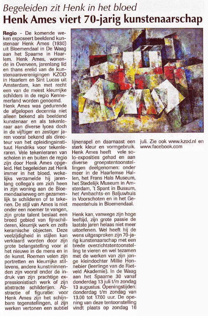 Henk Ames viert 70-jarig kunstenaarschap