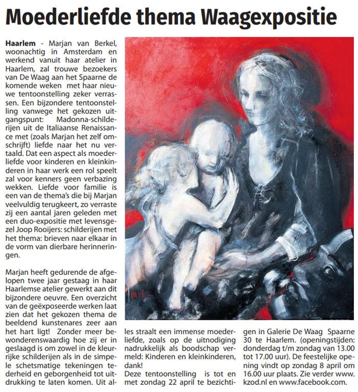 Persbericht | Moederliefde thema Waagexpositie