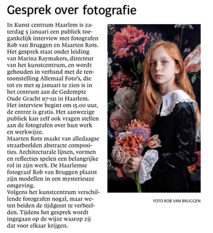 Interview  met Rob van Bruggen bij Kunstcentrum Haarlem