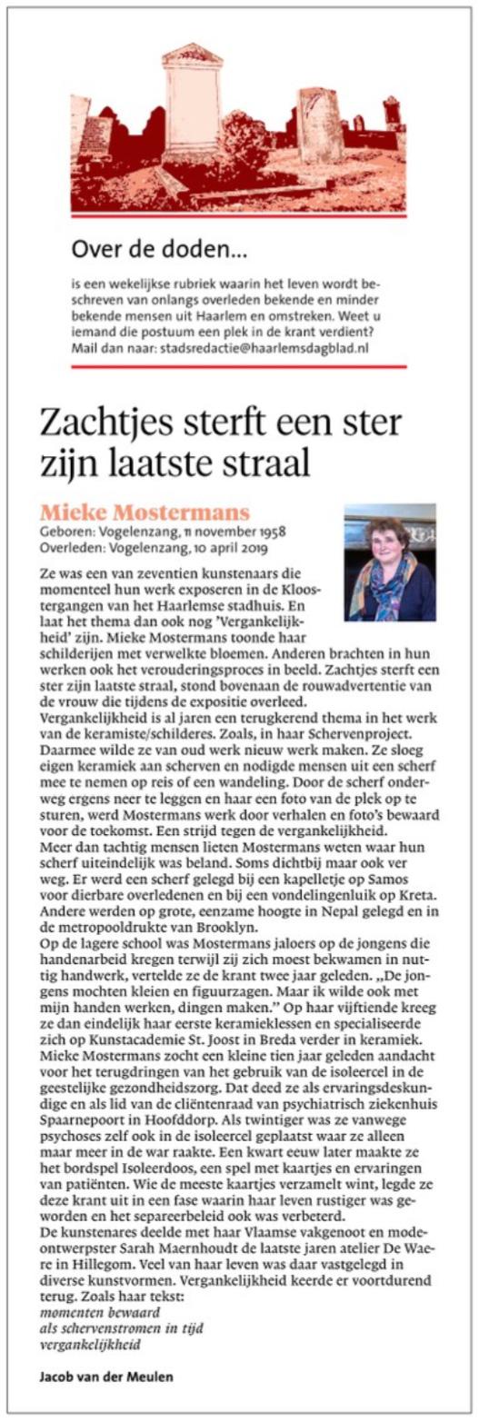 Mieke Mostermans | Zachtjes sterft een Ster zijn laatste Straal