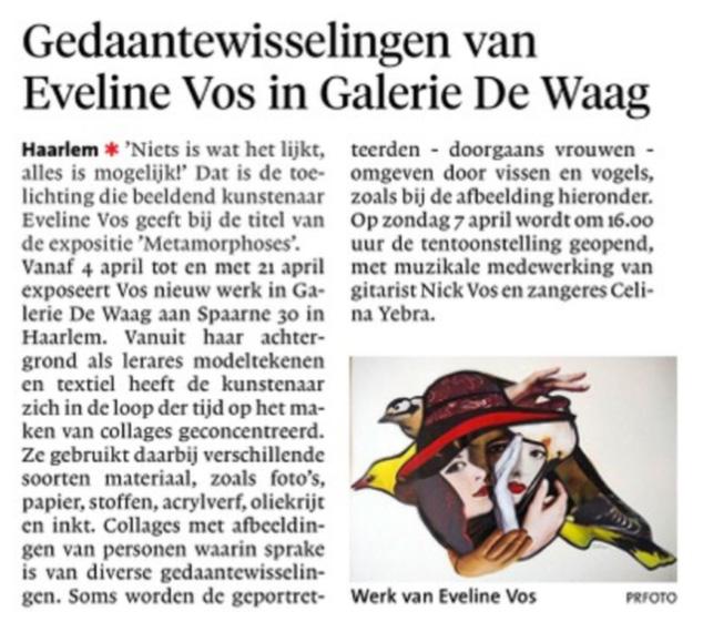 Gedaantewisselingen van Eveline Vos in De Waag