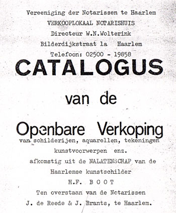 Catalogus openbare verkoping nalatenschap H.F. Boot