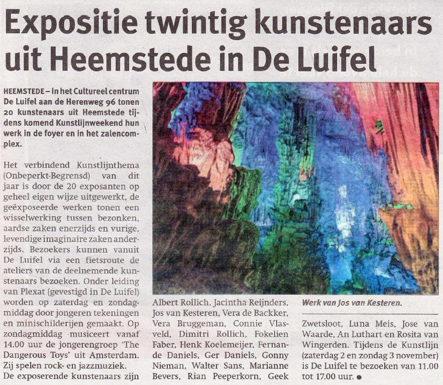 Expositie twintig kunstenaars uit Heemstede in De Luifel