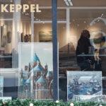 Winterwerken van Coby Kluitman in etalage van Mark Keppel
